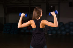 Beautiful fitness woman with lifting dumbbells . Sporty woman lifting light weights. Fit girl exercising building Stock Images