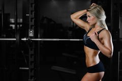 Beautiful fitness woman trains in the gym. Fitness strength training workout bodybuilding concept background - muscular bodybuilder sexy woman doing exercises in Royalty Free Stock Photos