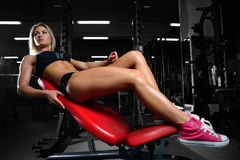Beautiful fitness woman trains in the gym. Fitness strength training workout bodybuilding concept background - muscular bodybuilder sexy woman doing exercises in Royalty Free Stock Photography