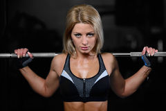 Beautiful fitness woman trains in the gym. Fitness strength training workout bodybuilding concept background - muscular bodybuilder sexy woman doing exercises in Stock Photography