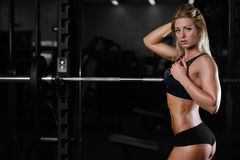 Beautiful fitness woman trains in the gym. Fitness strength training workout bodybuilding concept background - muscular bodybuilder sexy woman doing exercises in Stock Image