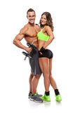 Beautiful fitness young sporty couple with dumbbell Stock Photo