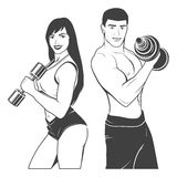 Beautiful fitness young sporty couple with Stock Images