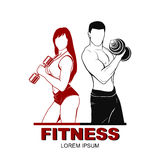 Beautiful fitness young sporty couple with Royalty Free Stock Photography