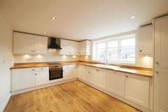 Beautiful Fitted Kitchen In Modern Home Royalty Free Stock Images