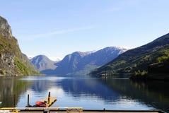 Beautiful Lake Mountain Scene, Fjord Landscape Stock Image