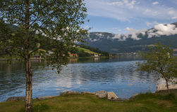 Beautiful Fjord Scenery in Norway Stock Photo