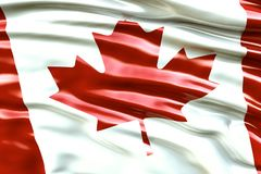 Beautiful flag of the Canada waving in the wind.  Royalty Free Stock Photography
