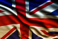 Beautiful flag of the UK waving in the wind.  Royalty Free Stock Photos