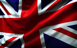 Beautiful flag of the United Kingdom. Waving in the wind Stock Photo
