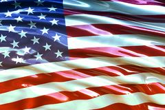 Beautiful flag of the USA waving in the wind.  Royalty Free Stock Image