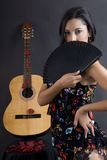 Beautiful flamenco dancer with black background Stock Photography
