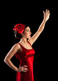 Beautiful flamenco dancer in red dress Royalty Free Stock Images