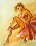 Beautiful flamenco danscer. Oil painting Royalty Free Stock Photos