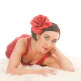 Beautiful flamenco girl on furs Stock Photography