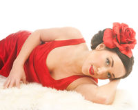 Beautiful flamenco girl on furs Royalty Free Stock Images