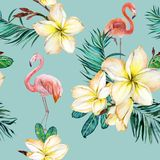 Beautiful flamingo and yellow plumeria flowers on blue background. Exotic tropical seamless pattern. Watecolor painting. stock illustration