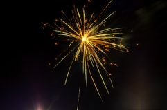 Beautiful flashes of fireworks in a festive mood royalty free stock photography