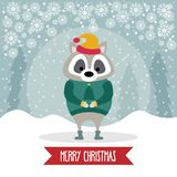 Beautiful flat design Christmas card with dressed raccoon stock illustration
