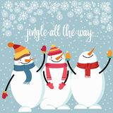 Beautiful flat design Christmas card with happy snowman stock illustration