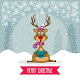 Beautiful flat design Christmas card with reindeer singing carol royalty free illustration