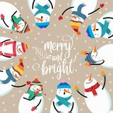 Beautiful flat design Christmas card with snowman and wishes royalty free illustration