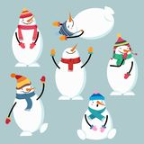 Beautiful flat design snowman collection vector illustration