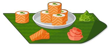 Flat illustration with rolls, wasabi and ginger stock illustration