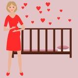 Beautiful flat pregnant woman character Royalty Free Stock Photo