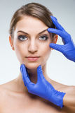 Beautiful, flawless female face - plastic surgery.  Royalty Free Stock Photo