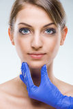 Beautiful, flawless female face and skin Stock Image