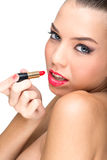 Beautiful flawless-skinned woman with lipstick Stock Photos