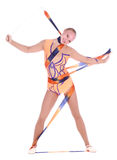 Beautiful flexible girl gymnast with a gymnastic ribbon stock photos