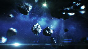 Beautiful Flight Through Asteroid Belt in Open Space. Asteroids Collisions 3d animation. HD 1080