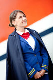 Beautiful flight attendant Royalty Free Stock Images