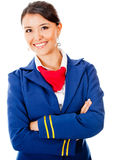 Beautiful flight attendant Stock Images