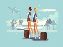 Beautiful flight attendants Stock Images