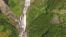 Beautiful flight copter over the waterfall stock footage