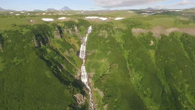 Beautiful flight copter over the waterfall. Panoram stock footage