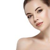 Beautiful flirt woman face close up portrait studio on white Stock Images