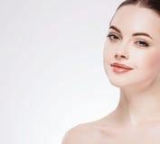Beautiful flirt woman face close up portrait studio on white Stock Photo