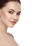 Beautiful flirt woman face close up portrait studio on white Stock Photography