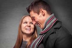 Beautiful flirting couple in love Stock Images