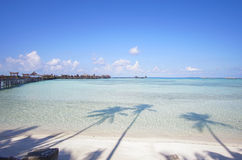 Beautiful floating chalet at mabul island aand blue sky Stock Photo