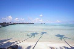 Beautiful floating chalet at mabul island aand blue sky Stock Photo