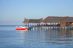 Beautiful floating chalet at mabul island aand blue sky Royalty Free Stock Photo