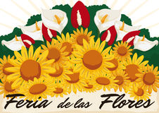 Beautiful Floral Arrangement for Colombian Flowers Festival, Vector Illustration Stock Image