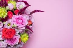 beautiful floral arrangement, pink and red rose, pink eustoma, yellow chrysanthemum Stock Image
