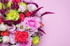 beautiful floral arrangement, pink and red rose, pink eustoma, yellow chrysanthemum Stock Photo