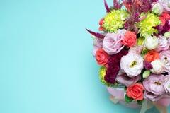 beautiful floral arrangement, pink and red rose, pink eustoma, yellow chrysanthemum Royalty Free Stock Image